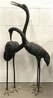 Pair of Brass Standing Crane Sculptures