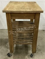 Antique Wood Island On Casters