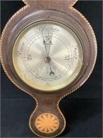 Mahogany And Inlay Banjo Barometer