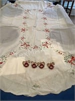 Linen Hand Embroidered Holiday Table Cloth