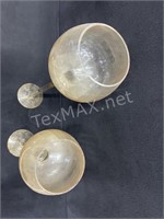 (2) Glass Stem Candle Holders