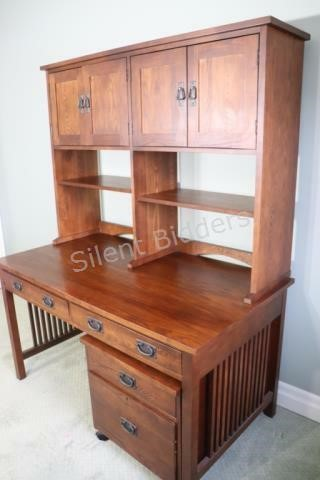 Mission Style Executive Desk, Hutch & Cabinet