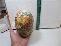 Vtg Paper Mache Easter Egg with Rabbit & Chicks