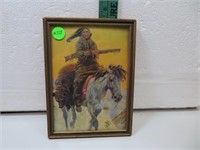 Vtg Indian Picture with Bear Thrown over Horse