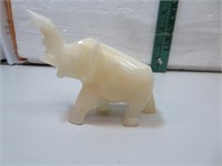 """Vintage Alabaster Elephant 4&1/2"""" x 3&1/2"""""""