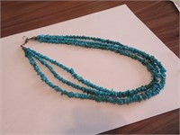 Turquoise Beaded Necklace with Sterling Silver