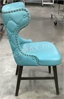 Vintage Turquoise Eagle Chair With Brass Buttons