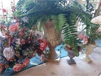 Pedestal Planters with Plastic Plants