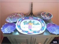 Purple Themed Decorative Plates and Bowls