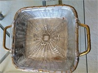 Silver Colored Metal Weaved Baskets and Pyrex
