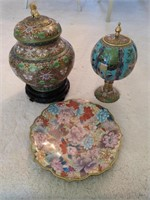 2 Decorative Brass Urns and 1 Plate