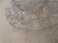 Heavy Punch Bowl and Glasses