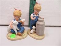 """2 Denim Days Figurines (5&1/4"""" tallest)"""