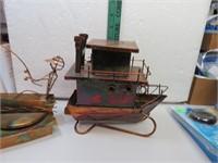 2 Coppertone Metal Musical Fisherman and Musical