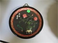 """Vintage Japanese Jade & Coral Wall Hanging 7&1/4"""""""