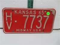 1965 Kansas License Plate HV-7737