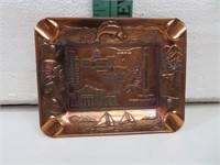 "Vtg Texas Metal Souvenir Ashtray 4&1/2"" x 3&1/2"""