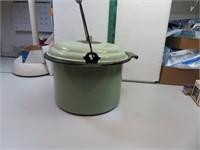 Antique Green Porcelain Enamel Pot (some chips,