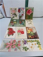 11 Antique Post Cards with Flowers early 1900's