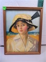 "Vintage Print of Woman by the Ocean 8&1/4""x10&1/4"""