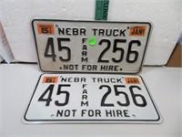 1997 Nebraska Truck License Plate Set 45Farm256