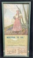 Antique Merceria El Sol 1956 March/april Calendar