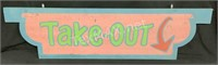 Wood Take Out Sign