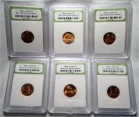 Lot of 6 INB Slabbed 1950's BU Pennies