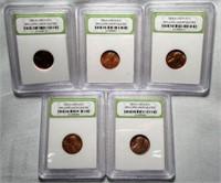 Lot of 5 INB Slabbed 1960's-70's BU Pennies