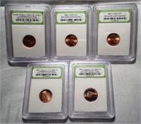 Lot of 5 INB Slabbed 2000's BU Pennies