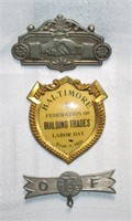 Lot of Union and Fraternal Pins & Badges