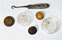 Misc Buttons, Button Hook and Sterling Shavings