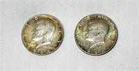 Lot of 2 1964 Kennedy Silver Half Dollars #1