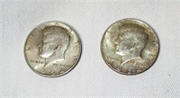 Lot of 2 1964 Kennedy Silver Half Dollars #2