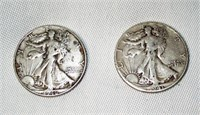 2 Walking Liberty Silver Half Dollars 1941/46