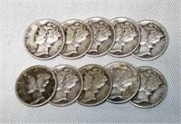 Lot of 10 Mercury Silver Dimes