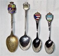 Lot of 4 Sterling & Enamel Souvenir Spoons