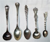 Lot of 5 Sterling Salt and Tea Spoons