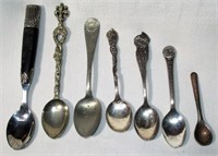 Lot of 7 Souvenir and Decorative Spoons