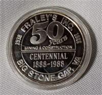 .999 Silver 31.4 grams Big Stone Gap VA Medal