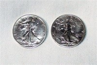 Lot of 2 Walking Liberty Silver Half Dollars #1