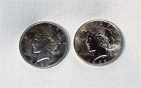 Lot of 2 1922 Peace Silver Dollars
