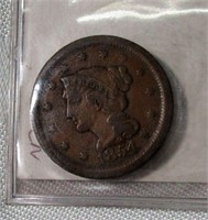 1854 Large Cent in Fine Condition