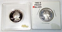 Lot of 2 Proof Silver Quarters