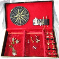 Box of Vintage Cuff Links and Tie Clips