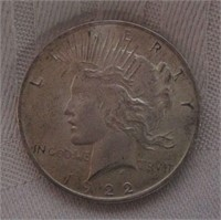 1922 Peace Silver Dollar Frosted AU