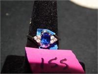 10kt White Gold w/ Blue & Clear Stones sz 6 1/2