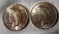 Lot of 2 1923 Peace Silver Dollars #1