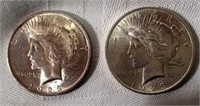 Lot of 2 1923 Peace Silver Dollars #2