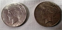 Lot of 2 1922 Peace Silver Dollars #2